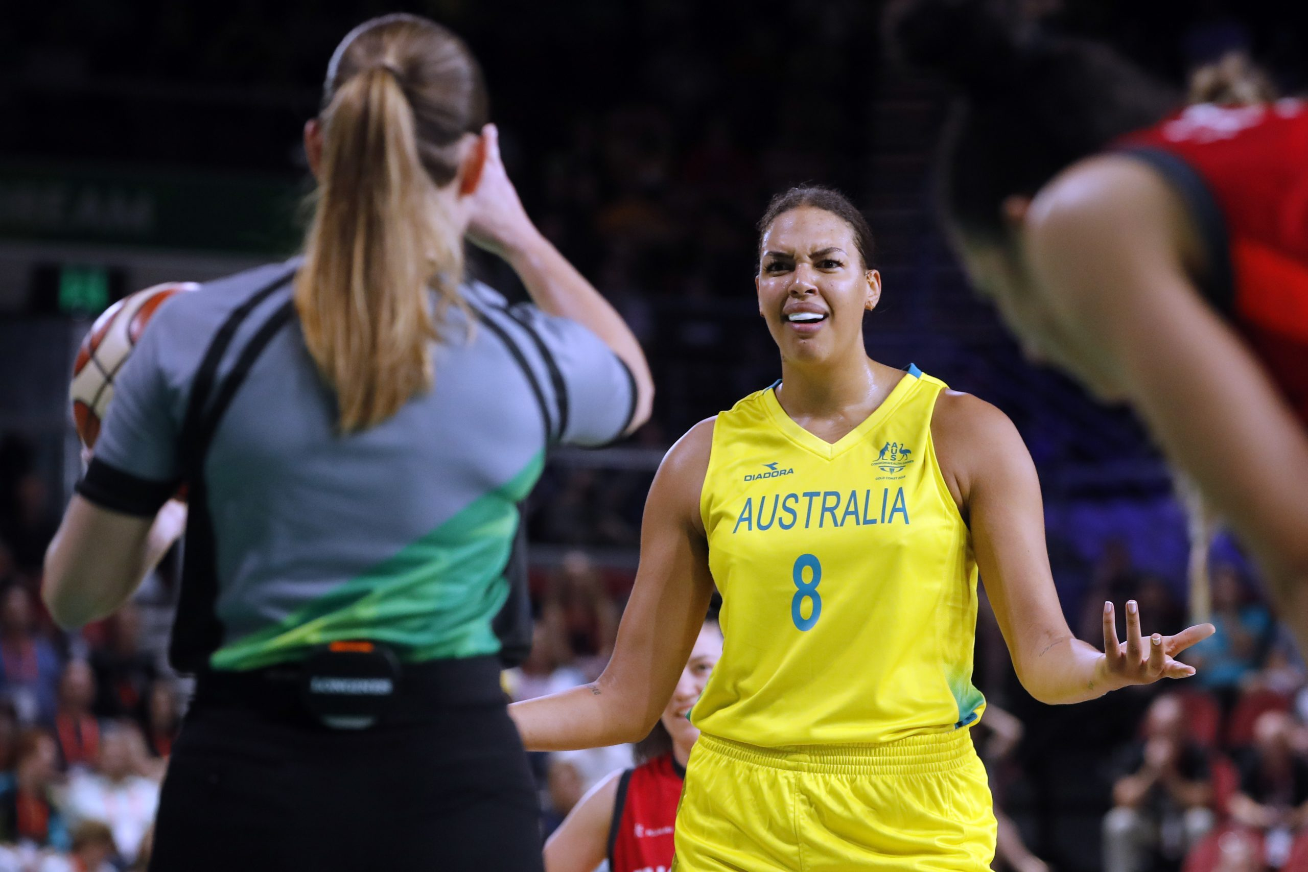 Liz Cambage reacts to a foul call during the Commonwealth games in 2018