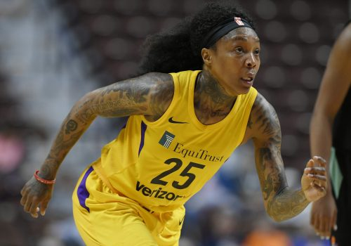 Cappie Pondexter plays for the Sparks in 2018