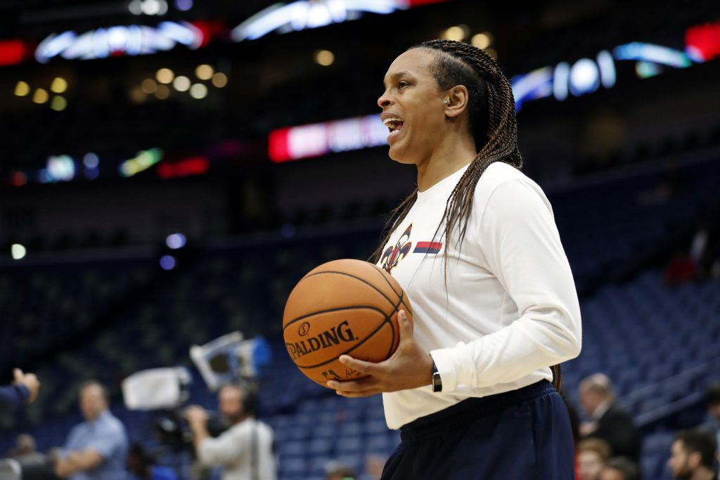 New Orleans Pelicans player development coach Teresa Weatherspoon before a preseason NBA basketball game against the Utah Jazz in New Orleans, Friday, Oct. 11, 2019. (AP Photo/Tyler Kaufman)
