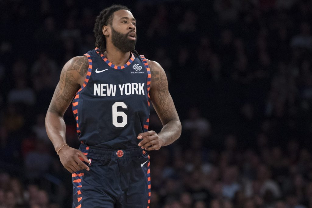 New York Knicks center DeAndre Jordan during a break in action in the second half of an NBA basketball game against the Detroit Pistons, Tuesday, Feb. 5, 2019, at Madison Square Garden in New York. The Pistons won 105-92. (AP Photo/Mary Altaffer)