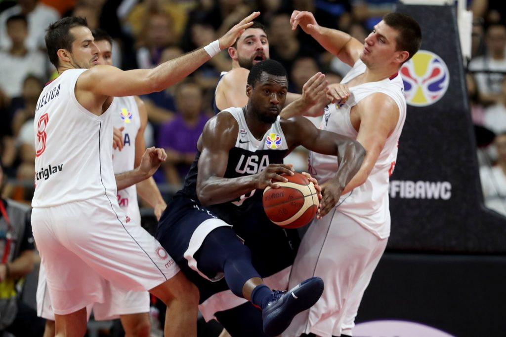 Harrison Barnes of the United States tried to split Serbia's defense in a 94-89 loss on Thursday in the FIBA World Cup. The Americans will play Poland for seventh place on Saturday