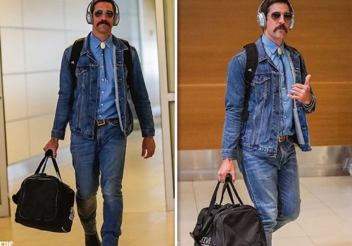 Aaron Rodgers in a three piece demin outfit